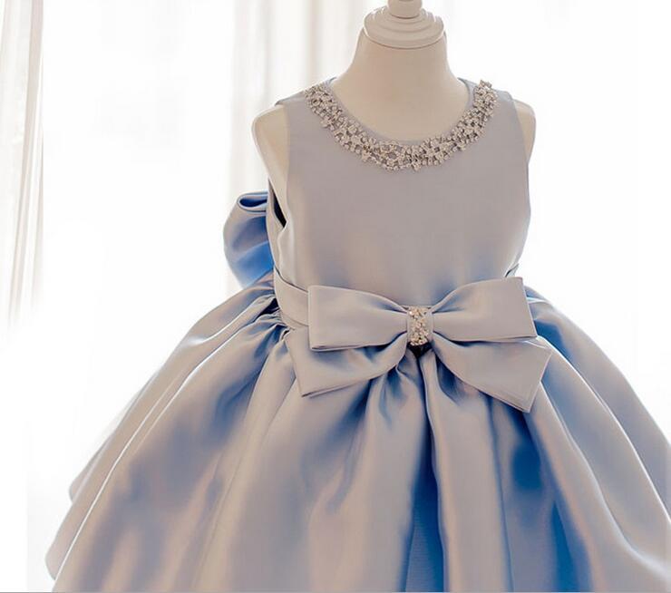 2016 Sky Blue tulle Princess Girl Party Dresses Diamonds Big Bow Wedding Dress for Christmas Kids Birthday clothes 12M-12Y blue sky чаша северный олень