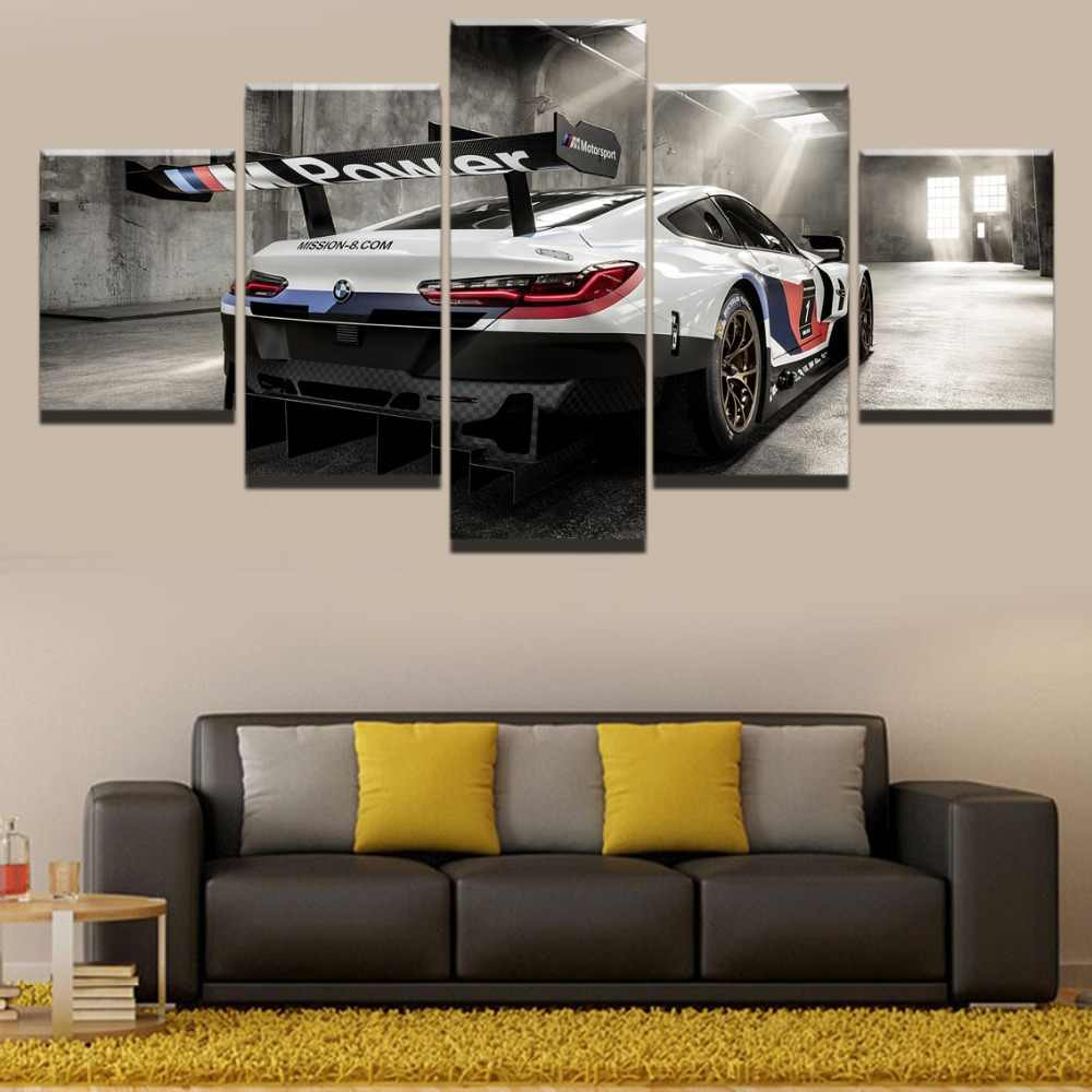 5 Pieces Home Modern BMW M8 Racing Car Painting HD Print Painting Artwork The Wall Art Paintings Canvas Wall Art Living Room