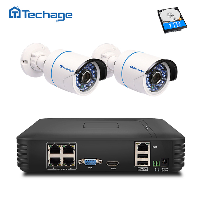 Techage 4CH 1080P Full HD NVR Kit POE CCTV System 2pcs 720P 1080P IP Camera IR Outdoor Waterproof P2P Security DIY Kit 1TB HDD