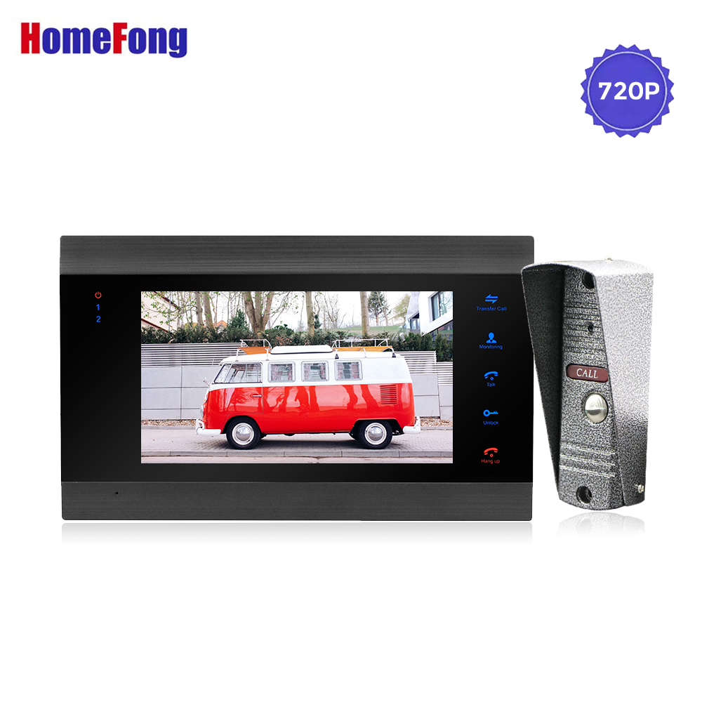 Homefong Wired Video Door Phone Video Intercom AHD720P Motion Record Wide Angle 90 Degree House Bell Ring Security Home System
