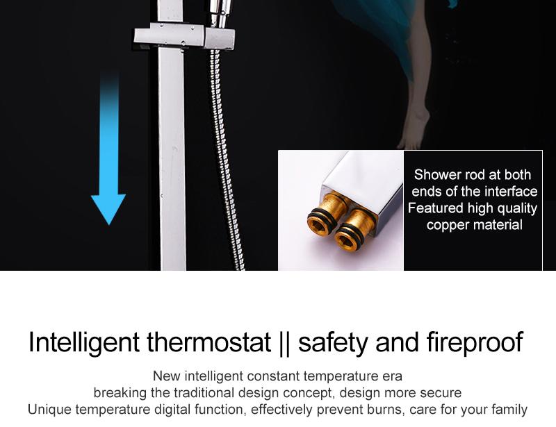 hm Installed Square shower Set Intelligent Digital Temperature Shower Brass Rain Faucet Smart Digital Display Wall Waterfall  (18)
