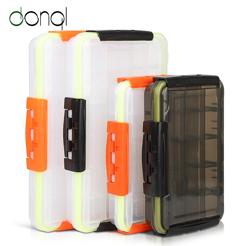 DONQL Fishing Box For Baits Waterproof Plastic Lure Boxes Fly Fishing Tackle Storage Box Supplies Accessories High Strength