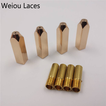Weiou 4pcs/1Set 5*5*19mm Rectangle Mirror Rose Gold Metal shoe lace Tips Replacement Shoelaces Head Aglets Ends DIY Sneaker Kits
