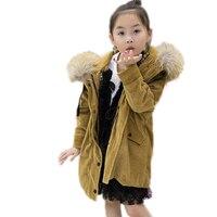 boys girls winter coats children winter warm outwear kids coats Long section Corduroy girl boy Rex rabbit fur winter jackets
