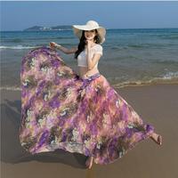 2019 summer new fashion bohemian chiffon floral long skirt casual Print Lace Up Empire loose holiday beach half skirt