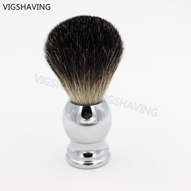 Chrome plated Metal F handle Black pure badger hair shave brush
