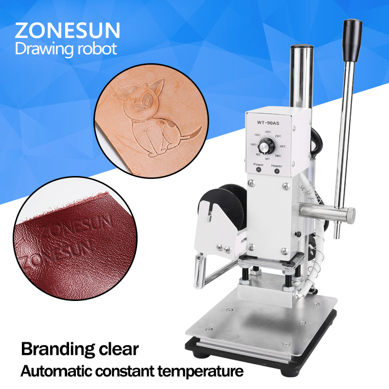 pvc tube printer pc connection electronic lettering mechine cable id printer wire marking machine s 700 100 ZONESUN  1PC 110V/220V Manual Hot Foil Stamping Marking Machine Leather PVC Printer With Temperature Control