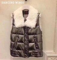 ハイストリートファッション女性冬ベストチョッキリアル子羊毛皮の襟