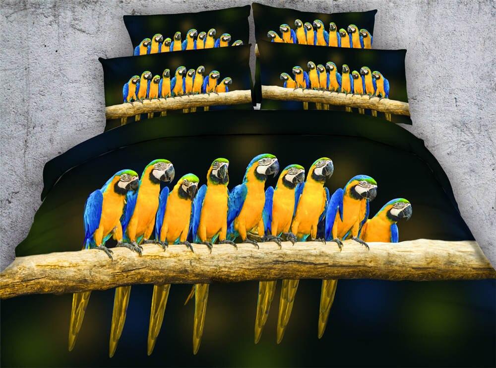 Hot 3d imprimé couvre-lit couvertures de couette ensembles de literie double reine roi cal king size tissé 500TC perroquets jaune noir