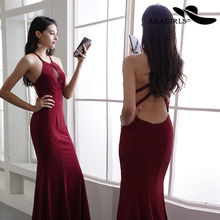 Alagirls New Arrival Mermaid Evening Dress Sexy Halter Spaghetti Gowns Backless Party dress Prom 2019