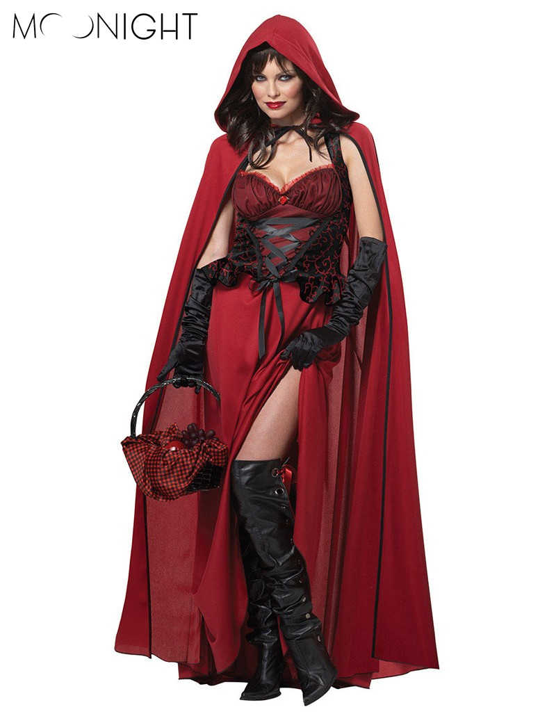 MOONIGHT High Quality Little Red Riding Hood Costume for Women Fancy Adult Halloween Cosplay Fancy Dress + Cloak One Size