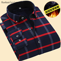 Winter Warm Long Sleeve Plaid Shirts Men Slim Fit Thicken Wool Linner Check Casual Shirts Chemise Homme Camisas Hombre Vestir