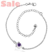 AADA BMPA Plated Silver Anklets Fashion Jewelry CA034-B Simple Style Round with Clear and Purpel Cubic Zirconia Foot Bracelets