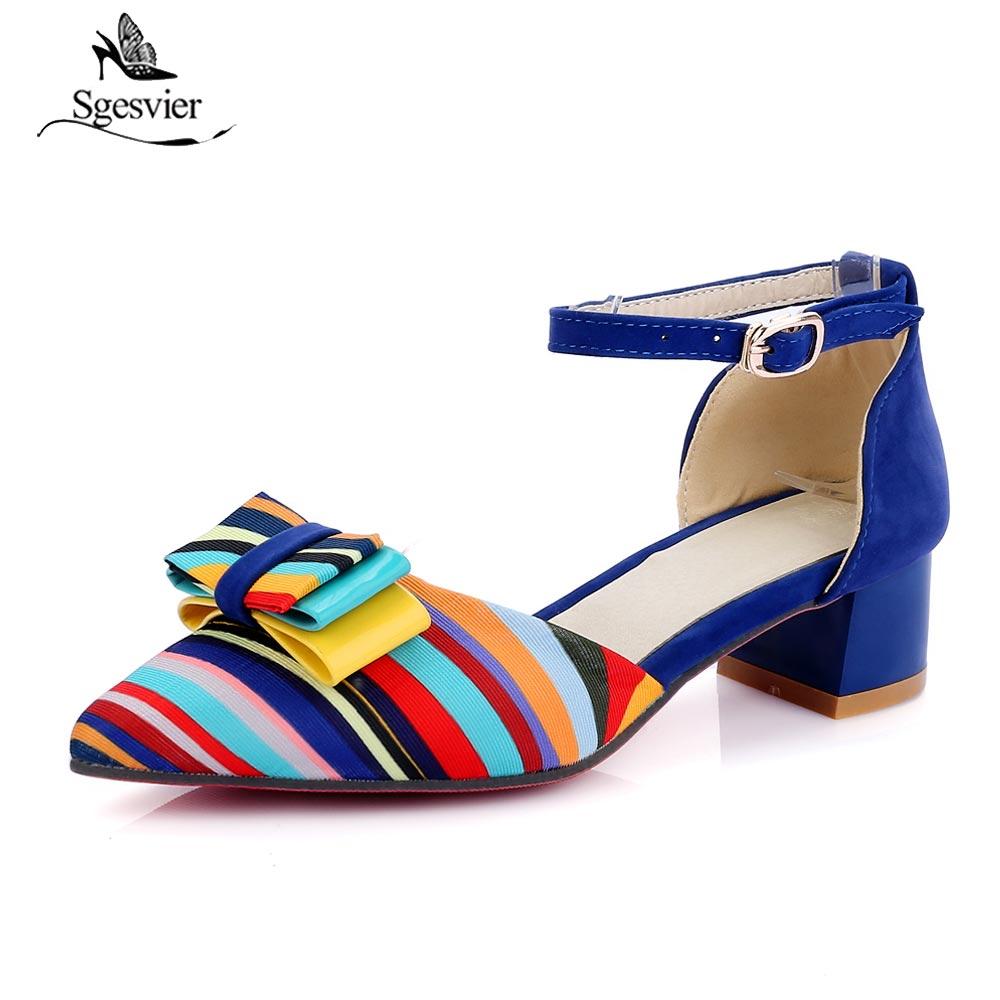 Sgesvier Fashion Women Pointed Toe Bowtie Pumps Thick