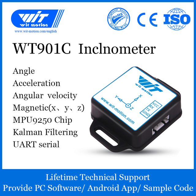 WitMotion WT901C High Precision 9 Axis AHRS Inclinometer Accelerometer+Gyroscope+Angle+Magnet Field(XYZ), Provide PC/Android App