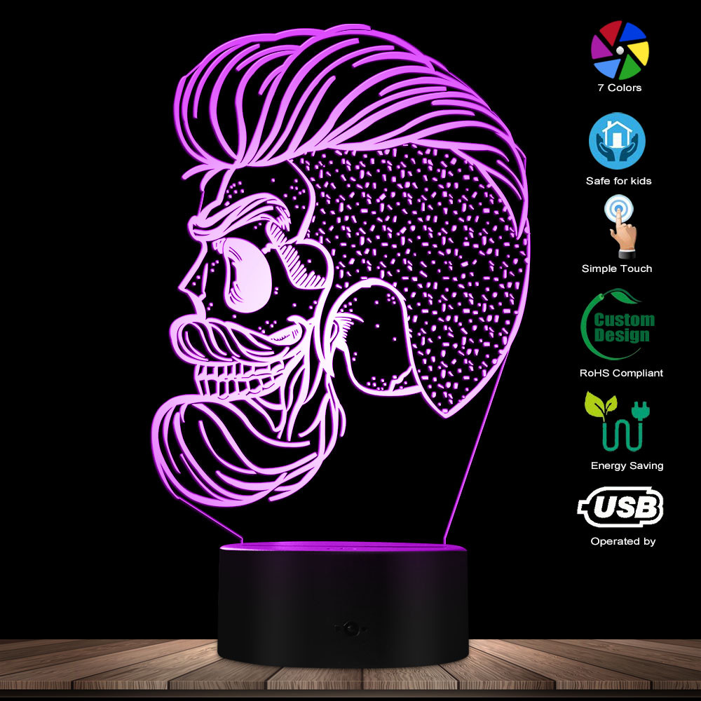 Hispter Skull Night Lamp Barber Shop Beard Skull 3D Optical Illusion LED Nights Mancave Personalised Lighting Decor Lamp Gift