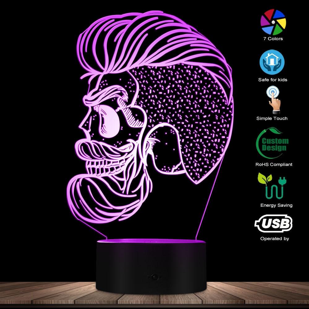 Barber Skull 3D Optical illusion Night Light Skeleton Barber Shop LED Table Lamp