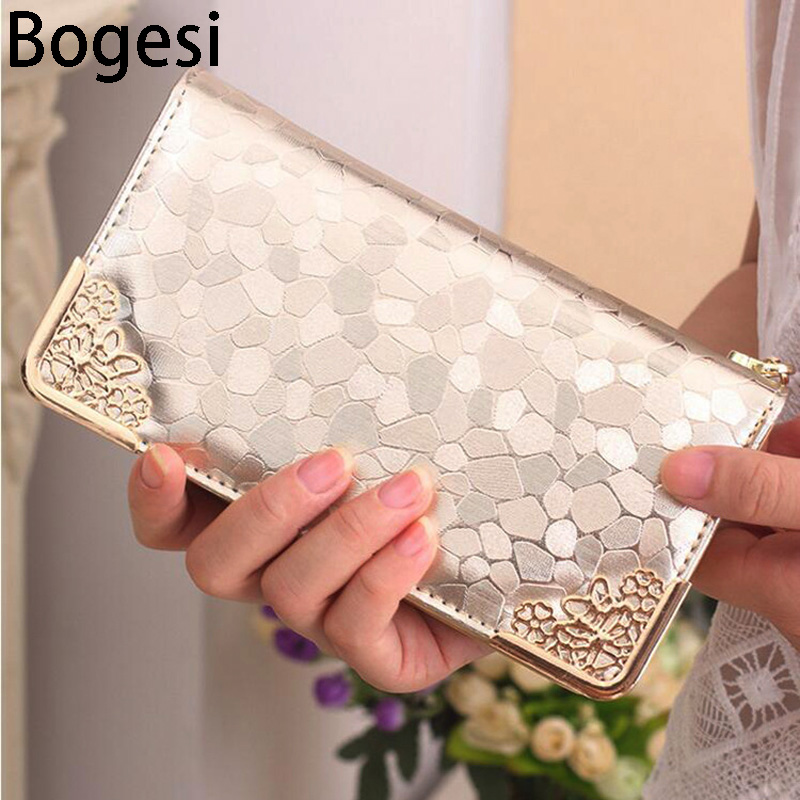 Bogesi New 2018 Long Clutch Wallet Fashion Patent  Stone Pattern Luxurious PU Leather Purse Money Bag Coins Holder Elegant
