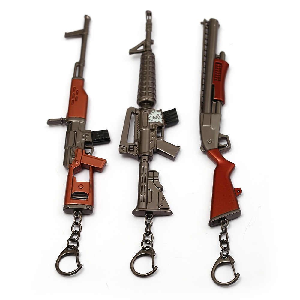 Game Sleutelhanger 17 cm Pistool Modle Battle Royale Sleutelhanger Ring Metal Rifle Chveiro llavero Porte Clef AK47 Pubg Wapen