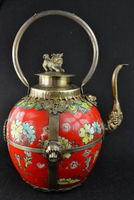 Free shipping Collectibles Decorated tibet silver red Porcelain Lion lid big Teapot