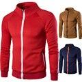 New Fashion Stylish Sweatshirts Muti Colors to Choose Men Solid Full Zipper Coat Plus Size M-3XL Free Shipping