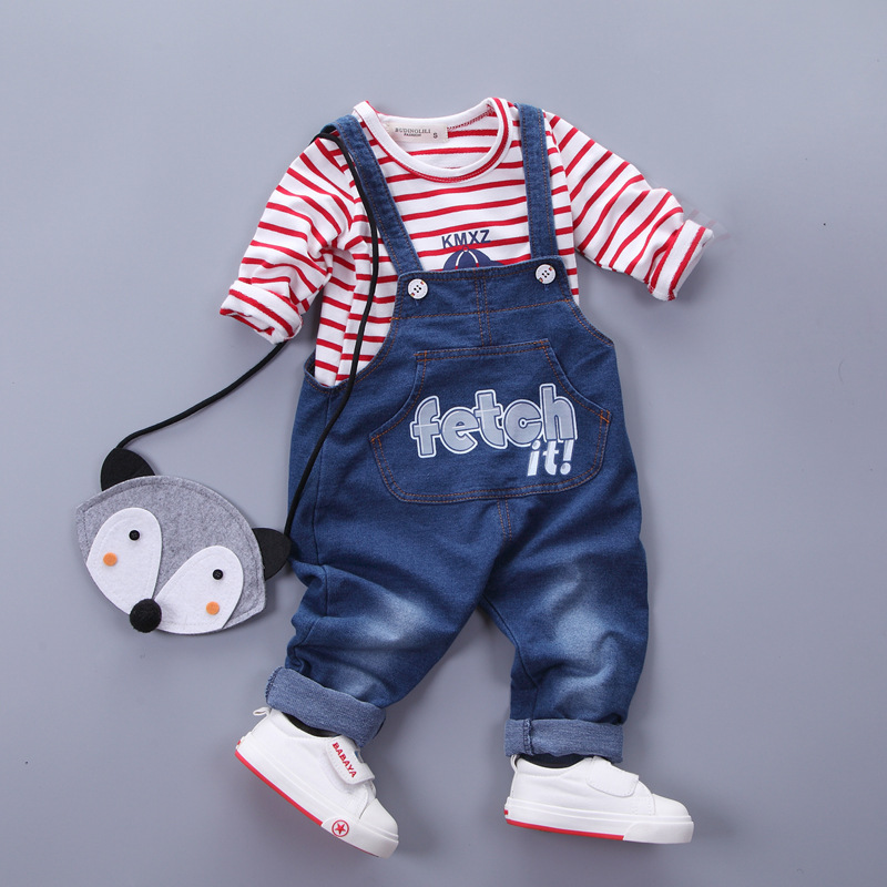 HOT SALE Spring Children clothing set kids boys girls clothes cotton long sleeve Striped T-shirts Denim overalls baby clothes  2017 spring longsleeve cotton t shirts for girls clothing tops baby kids clothes lace bowknot korean style children girls tees
