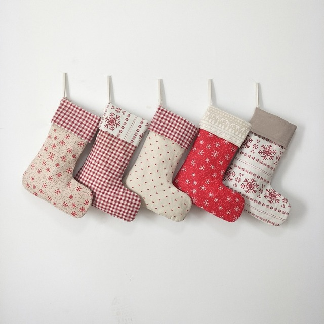 wholesale 200pcslot burlap christmas stocking gift holders bags tree decoration can mixed - Burlap Christmas Decorations Wholesale
