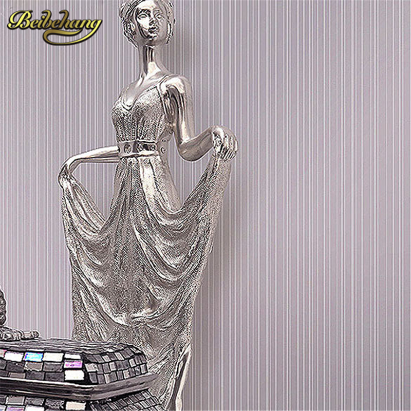 beibehang papel de parede. Plain Vertical thin striped feature wallpaper roll Flocking embossed textured effect non-woven decor papel de parede gold silver modern stylish simple luxurious glitter textured feature non woven wallpaper 3d design effect backg