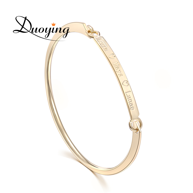 DUOYING 40*4 mm Gold Bar Bangle Bracelet Custom Name Copper Bracelet Personalize Initial Engrave Name Bracelet Bangle for Etsy