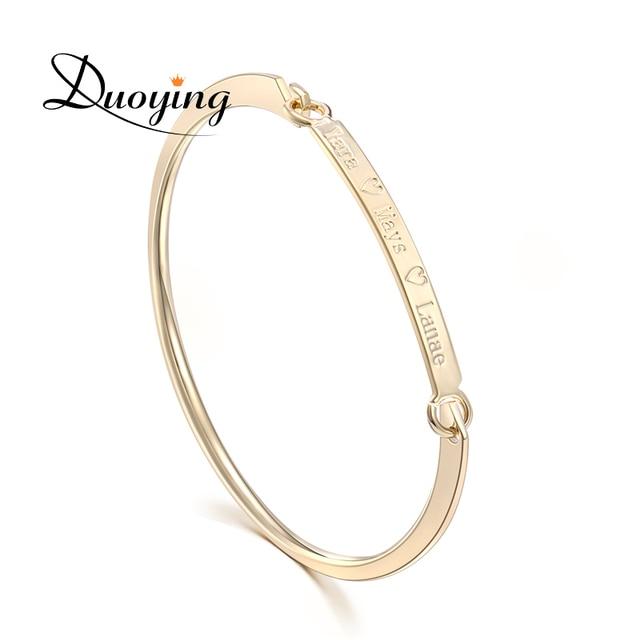 DUOYING 404 mm Gold Bar Bangle Bracelet Custom Name Copper Bracelet