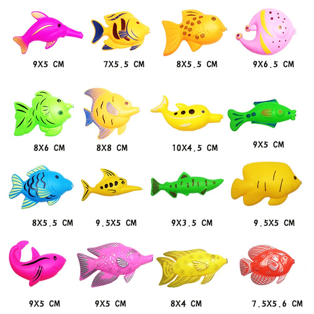 15/27Pcs Set Plastic Magnetic Fishing Toys Baby Bath Toy Fishing Game Kids 1 Poles 1 Nets 13 Magnet Fish Indoor Outdoor Fun Baby