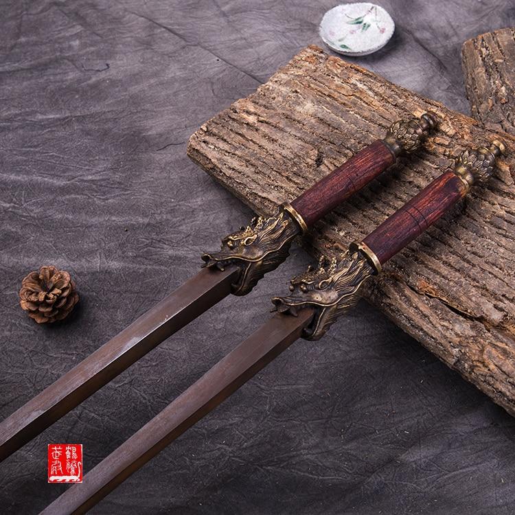 Rompeespada Antique Ming acero doble mace de madera doble espada rompe mace similar a las artes marciales látigos armas frías