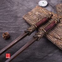 Sword breaker Antique Ming steel double mace wooden double Sword breakers mace similar to martial arts whips cold weapons