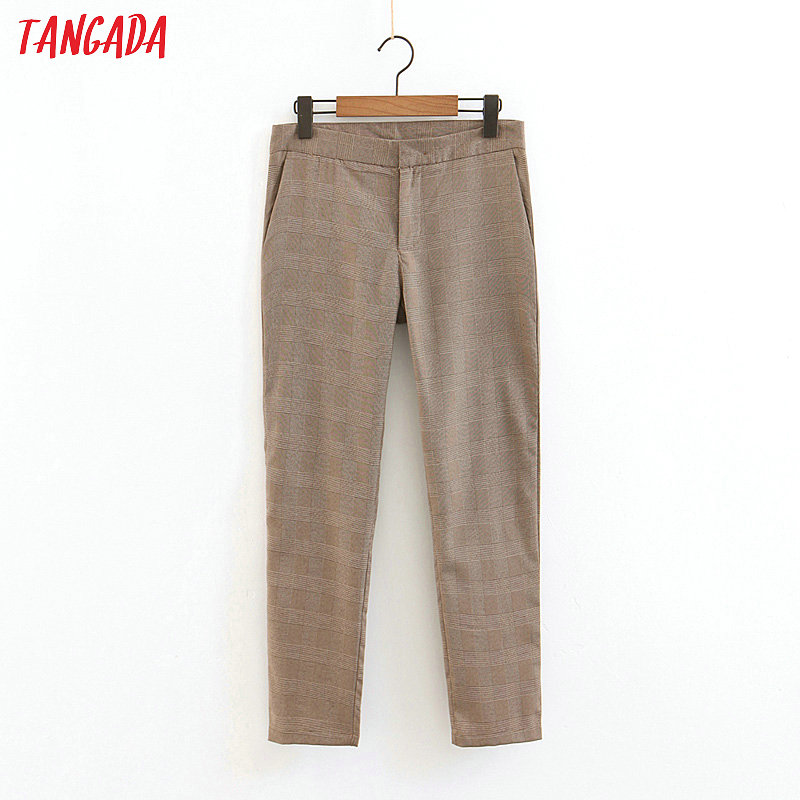 Tangada Women Vintage Plaid Suit Pants Trousers Pants Button Work Pants Casual Fashion Female New Arrival Long Pants QB120