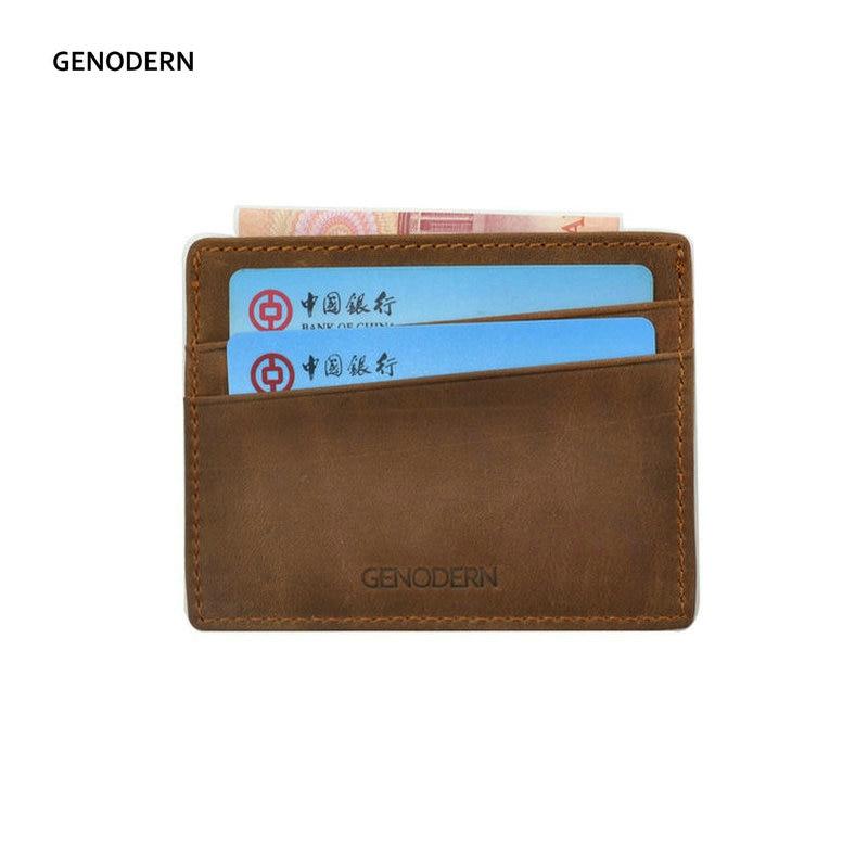 GENODERN Crazy Horse Genuine Leather Card Holder For Men Slim Credit Card Holder Case Simple Men's Card Case Holders