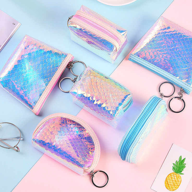 Summer New Brand Leather Coin Purses Small Fresh Casual Pu Coin Wallet Women Fashion Cute Colorful Key Card Money  Zipper Bag