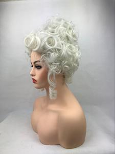 Image 4 - High Quality Marie Antoinette Princess Medium Curly Cosplay Wig  Heat Resistant Synthetic Hair Cosplay Wigs + Wig Cap