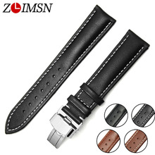ZLIMSN Smooth Genuine Leather Watch Band Belt Replacement Black Brown 18 20 22 24mm Double Push Butterfly Buckle Silver Polished