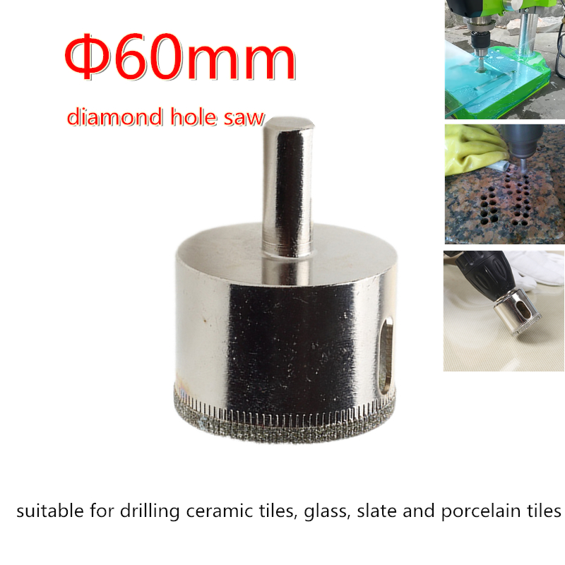 Bench Drill Or Electric Hand Drill Use Electroplating Diamond Hole Saw Core Drill Bit For Glass Tile Ceramic Etc 60mm
