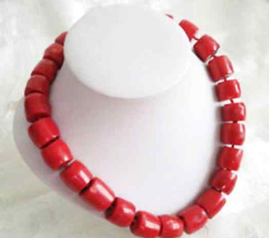 Hot sale Tibet Red Coral Large Cylinder Beads 18KWGP Clasp Necklace