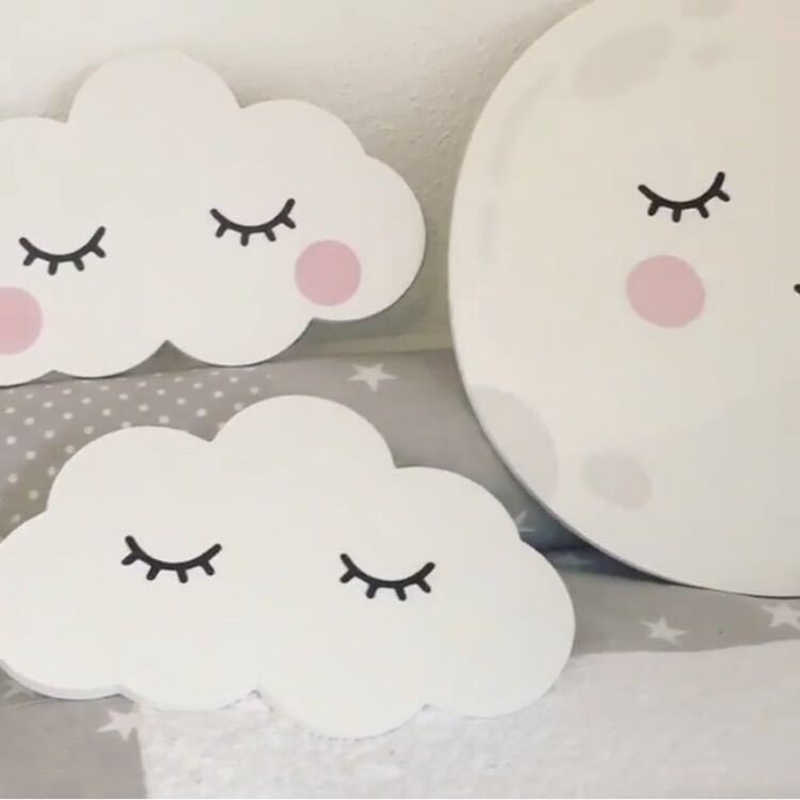 Decorative Rabbit Clouds Wall Stickers Children Kids Baby Bedroom Wall Sticker Home Decoration Wall Stickers Wooden-Plastic