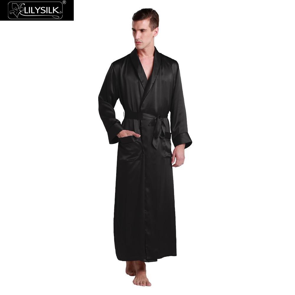 LilySilk Robe Sleepwear kimono Men Pure 100 Silk 22 momme Contra Full Length Luxury Natural Men