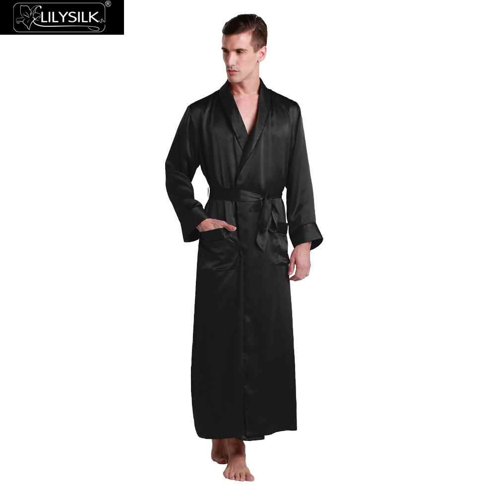 LILYSILK Men's 22 Momme Silk Robe Contra Full Length 100% Pure Silk