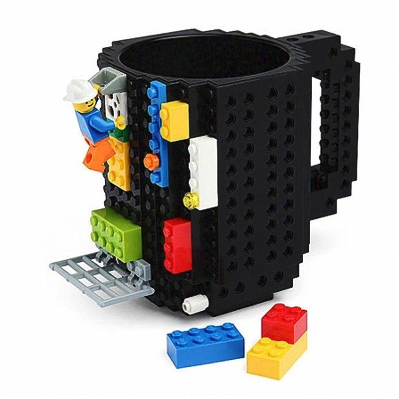 Taza de leche creativa de 350 ml taza de café taza de ladrillo de construcción creativa tazas de agua potable para diseño de bloques de construcción LEGO
