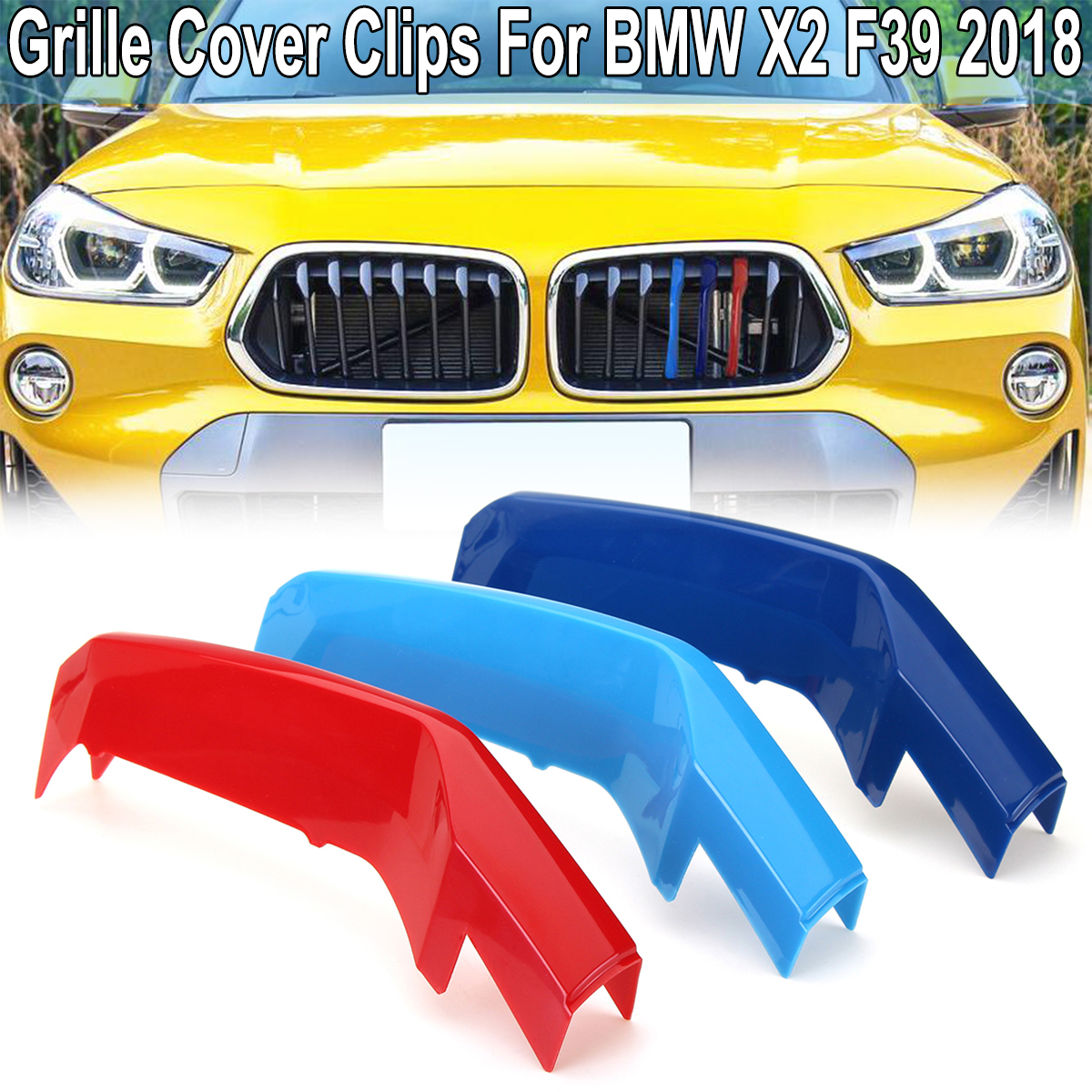 For BMW X2 F39 2018 M 3D Car Front Grille Grill Cover Trim Clips Strips Moulding Trim Strip Power Performance Accessories