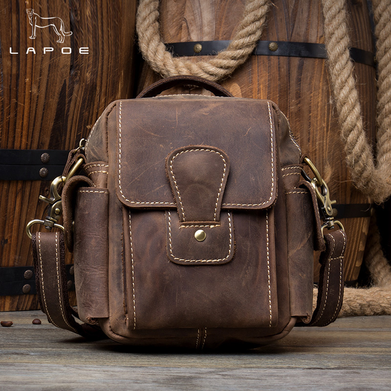 LAPOE Crazy Horse Genuine Leather Men Bag Male Vintage Small Shoulder Messenger Bags Crossbody Bags Messenger Bag Men Leather цена