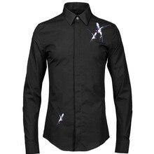 Лето осень Новое мужское платье рубашка Цвет птица нежная вышивка белая рубашка против морщин хлопок мужские рубашки с длинными рукавами