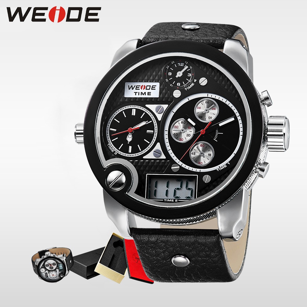 WEIDE Top Brand Mens Digital Dual Time Watch With Real Leather Strap Big Dial  Waterproof LCD Watches Original Gifts alarm clock weide top brand mens dual time watch big black dial 30m waterproof full stainless steel complete calendar wristwatch