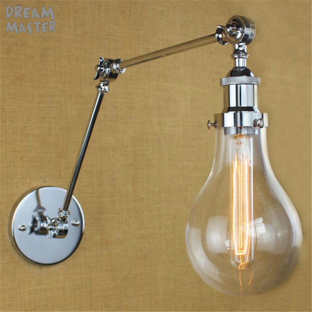 Industrial Wall Light Chrome: Modern Vintage Industrial Long Glass Shades Chrome Plated