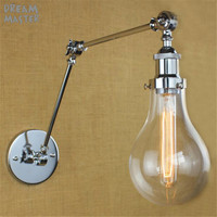 Modern Vintage Industrial Long Glass shades Chrome Plated Sconce Wall Light Wall Lamps Bedroom appliques luminaires murales